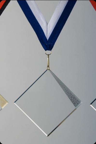 Glazen Vierkante Medaille